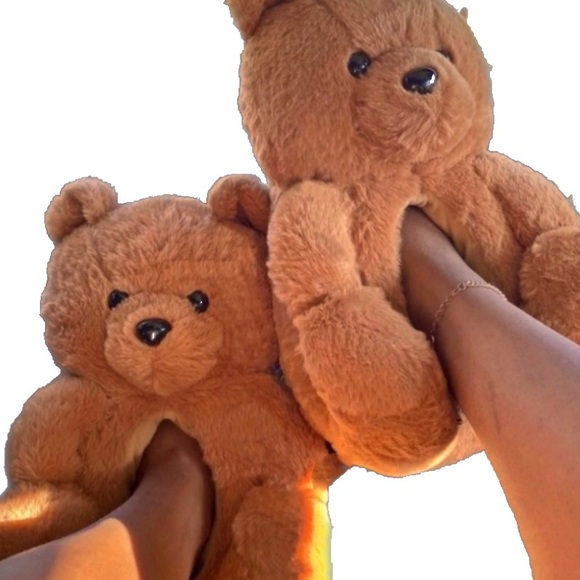 Berry Comfy Teddy Bear Plush Slippers